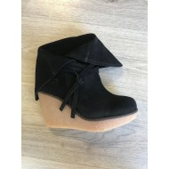 CHA WEDGE LOW SUEDE - BLACK